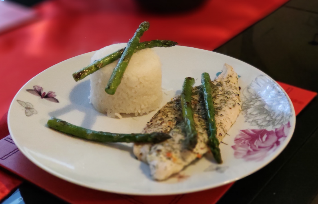 sea bass with rice dinner recipe