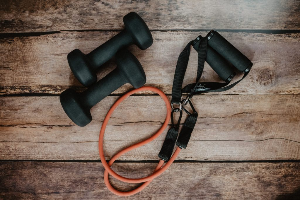 dumbbells and resistance bands